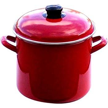 Uniware 5007-18 Enamel Deep Pots, 3.7 L, Red