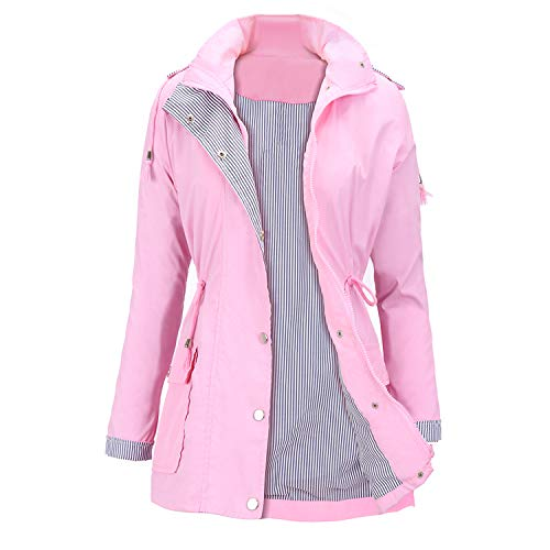 Womens Jacket Waterproof Breathable (FISOUL Raincoats Waterproof Lightweight Rain Jacket Active Outdoor Hooded Women's Trench Coats Pink X-Large)