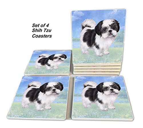 Shih Tzu Coasters - Moisture Absorbing Stone Coasters with Cork Base, Prevent Furniture from Dirty and Scratched, Stone Coasters set Suitable for Kinds of Mugs and Cups, Set of 4 ()