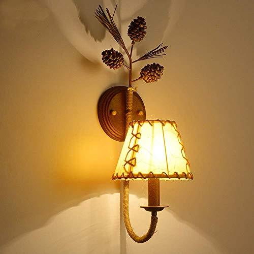 TheMonday Retro Creativity Pine Cone Wall Lamp American Antique Resin Wall Light E14 Wall Mount Corridor Aisle Stair Light Bedroom Head Sconce Lantern ()