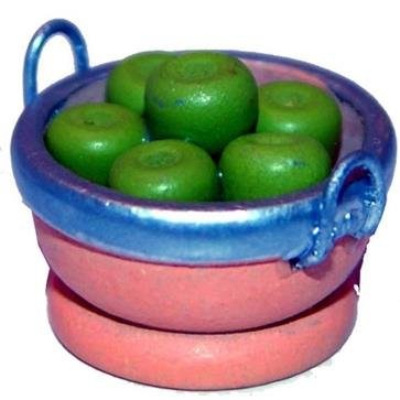 Miniatur Modell Zubehör, Apfelschale, Apfelkorb, Ø 2,8cm Zisaline