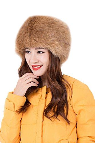 Modelshow Invierno Mujeres Moda Estilo de Rusia Gorra Redondo Piel Sintética Sombrero Gorro Para Esquí caqui