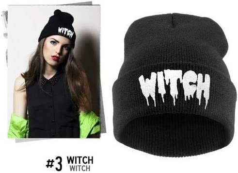 419216e2662 Amazon.com  LZLAN Order get Gift Unisex Women Men Autumn Winter Punk Letter Knitted  Cap Elastic Hat Witch Hip-hop Pullover Warm Wool Hats (Color  Black)  ...