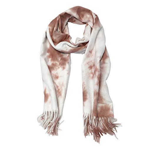 Tie Dye Fringe Scarf - Allgala Oversized Cashmere Like Tie-Dye Fashion Scarf -Burgundy-SCF60087