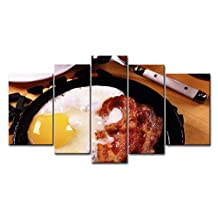 5 Panel Wall Art Painting Breakfast Fried Eggs Bacon Yolks Prints On Canvas The Picture Food Pictures Oil For Home Modern Decoration Print Decor