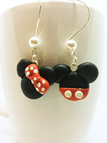 Disney Dangle Earrings (Disney Inspired Dangle Earrings Mickey Mouse and Minnie Mouse Head Polymer Clay Jewelry)