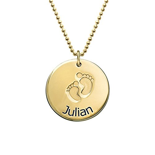 Customized Name Necklace Custom Baby Name Necklace Pendant with Footprints