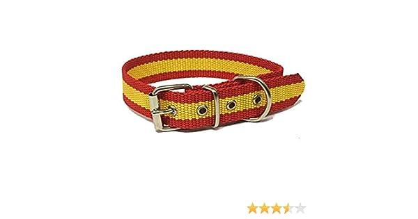 Global Collar de Perro Bandera de España   Collar de Perro de Nailon con Refuerzo en Piel   Collar 45 cms: Amazon.es: Productos para mascotas