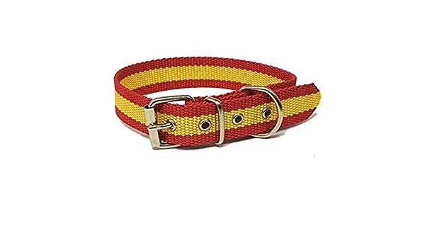 Global Collar de Perro Bandera de España | Collar de Perro de Nailon con Refuerzo en Piel | Collar 45 cms: Amazon.es: Productos para mascotas