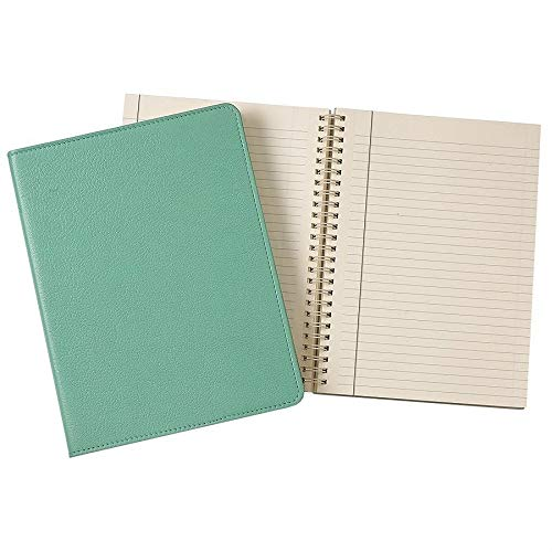 Wire-O-Notebook 9in Robins-Egg Blue Fine Leather by Graphic Image™ - 7x9