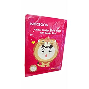 2 Mask Sheets of Watsons Animal Design Facial Mask with Brown Rice. Applying facial mask can be super fun with various skincare benefits. (23 ml essence/ sheet.)