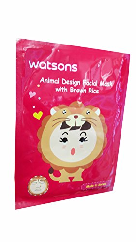 4 Mask Sheets of Watsons Animal Design Facial Mask with Brown Rice. Applying facial mask can be super fun with various skincare benefits. (23 ml essence/