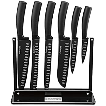 Cuisinart C77NS-7P 7-Piece Nonstick Cutlery Knife Set with Acrylic Stand, Black