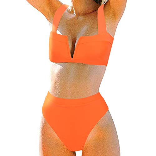 MOSHENGQI Women High Wasited Bikini Shoulder Strap 2 Piece High Cut String Swimsuits (Medium, Orange59) (Swimsuit V Cut)