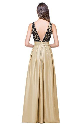 Misshow Lang Rücken Ausschnitt Spitze Damen Khaki Ballkleid V Elegant Am Satin Abendkleid r7r6z