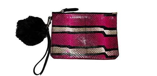 Etienne Aigner Eva Pouch With Pom Pom Black & Pink Snake (Etienne Black Aigner Handbags)