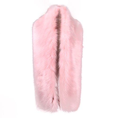 (Caracilia Women Long Winter Fashion Faux Fox Fur Collar Scarf Pink 180CA97)