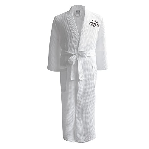 Caravalli Egyptian Cotton Waffle Robe, White Soft Bath Robe with His Embroidery