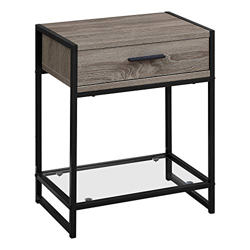 (Monarch Specialties Side Accent Table with Glass Shelf, Rectangular, Dark Taupe/Black)