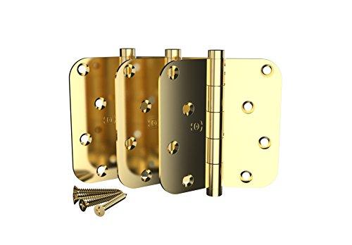3 Pack Omnia 4 x 4 Extruded Solid Brass Door Hinge 5/8