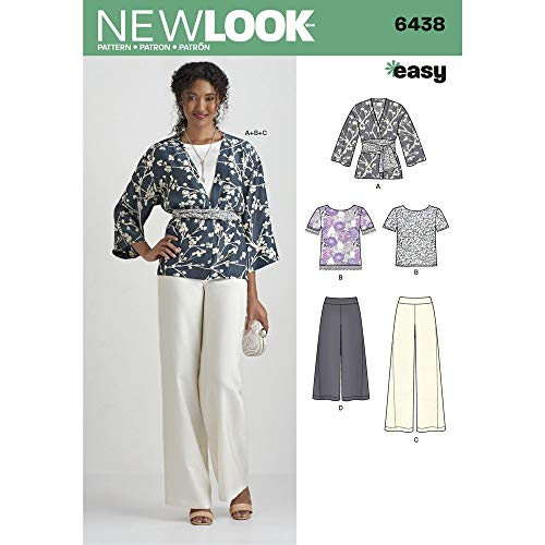 New Look Patterns Misses' Easy Pants, Kimono, and Top Size A (10-12-14-16-18-20-22) 6438