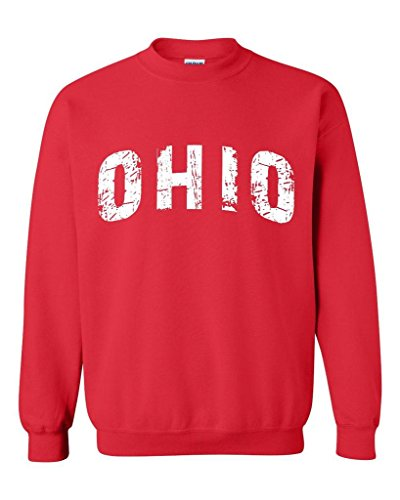 Blue Tees Ohio Love Home My State USA Fashion People Best Friend Gift Couples Gifts Unisex Crewneck Sweatshirt XXX-Large Red -