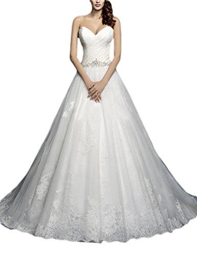 ivory a line floor length sweetheart dress - 3