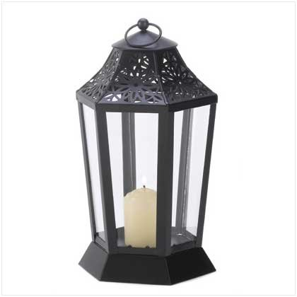 Jet Black Garden Candle Lantern Hurricane Style (Black Hurricane Lamp)