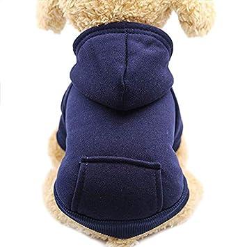 Idepet Perro Gato Sudadera con Capucha Mascota Cálido Abrigo de Invierno Ropa de algodón para Perros con Bolsillo Exterior para Perros pequeños: Amazon.es: ...
