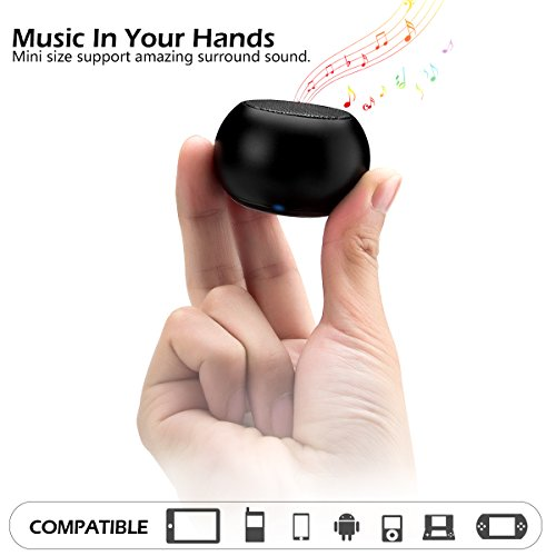 LONGET Mini Bluetooth Speaker Portable Wireless with Enhanced Bass and 15-Hour Playtime for Home Outdoor Travel (Black)