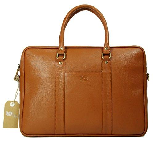 Leftover Studio Soft Briefcase Messenger Bag Tan in Top Grain Cow Leather
