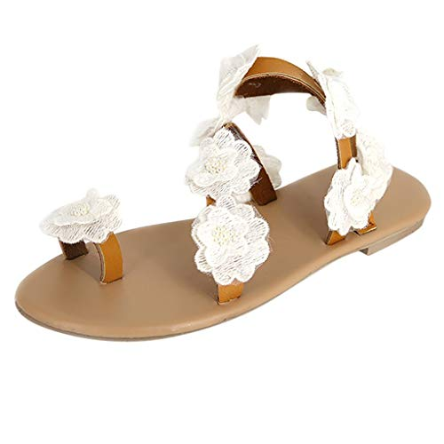 FengGa Fashion Womens Toe Flower Gladiator Flat Bottom Shoes Summer Sandals Open Toe Rome Sandals Beach Shoes White ()