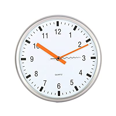 "Tempus® Contemporary Wall Clock with Silent Sweep Quiet Movement, 10"", Silver - 10 inch Silver plastic Frame with clear protective lens Stylish Face design includes orange hour and minute hands and squiggly second Hand Silent sweep feature completely eliminates ticking sound - wall-clocks, living-room-decor, living-room - 41UscDA4aIL. SS400  -"