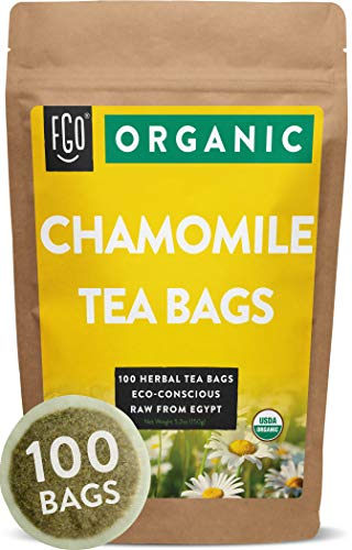 Organic Chamomile Tea Bags | 100 Tea Bags | Eco-Conscious Tea Bags in Foil Lined Kraft Pouch | Raw from Egypt | by FGO