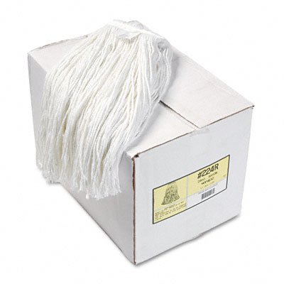 Boardwalk 224RCT Premium Cut-End Wet Mop Heads, Rayon, 24oz, White, 12/Carton