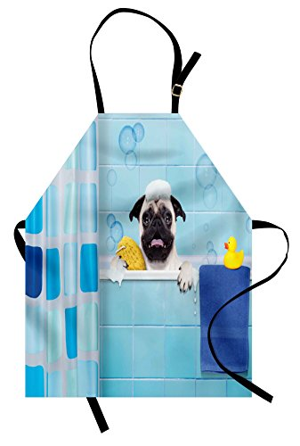 Lunarable Pug Apron, Pug Dog in a Bathtub with Funny Expression Yellow Duck and Towel Domestic Pet Wash Time, Unisex Kitchen Bib Apron with Adjustable Neck for Cooking Baking Gardening, Multicolor