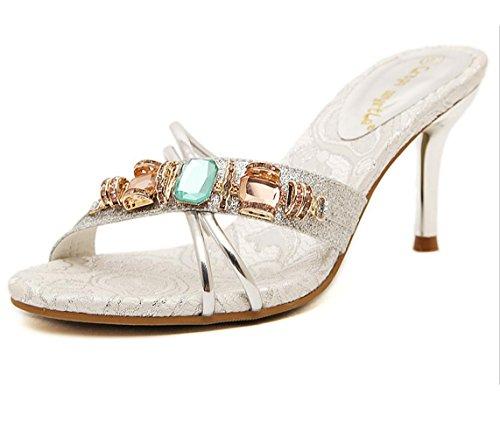 Sandalen Sandaletten High Sommer und Schuhe hohen Heels Damen Sexy Silber Absätzen WSK mit Sexy Hausschuhe wYfZCxOq