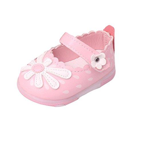 Igemy 1Paar Baby Kinder Kleinkind Sonnenblume Mädchen leuchtende Beleuchtung Soft-Soled Prinzessin Schuhe Rosa