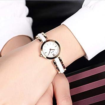 WZFCSAEAE Relojes Mujer Reloj de Cuarzo para Mujer Oro Rosa Elegante Mujer de Dos Agujas Reloj Estilo Simple Señora Zegarki Damskie, Blanco Oro Rosa: ...