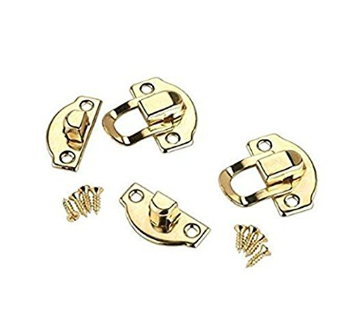 RZdeal 4Pcs Jewelry Box Latch Hasp Pad Chest Lock Hook Hinge Brass Tone