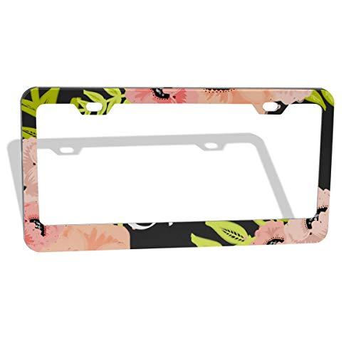 MUMO Art Spring Flower Pattern Print License Plate Frame, 2 Pcs 4 Holes Aluminum Car Licence Plate Holder Covers for All Standard US - Sleek Car Accessories, Gorgeous Covers for License Plates