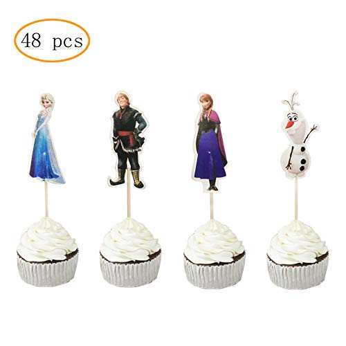 Frozen Themed Birthday Cake (48PCS Frozen Cupcake Toppers for Kids Birthday Party Cake)