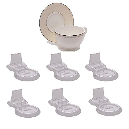 HOHIYA Tea Cup and Saucer Display Stand Holder Teacup (Clear,pack of 6)
