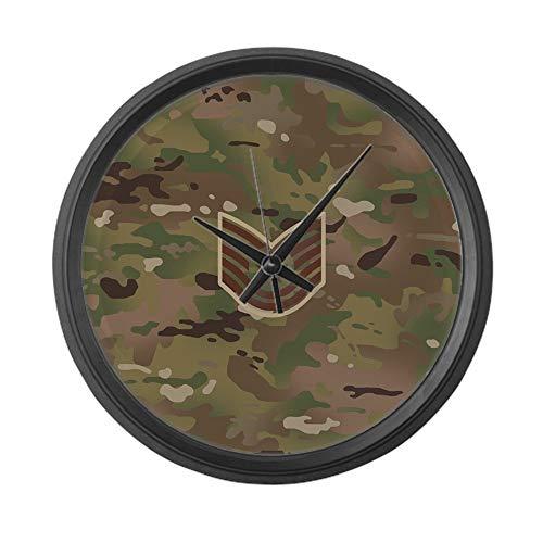 YiiHaanBuy U.S. Air Force E-6 Tsgt (Camo) 12 in Round Wall Clock, Unique Decorative Clock