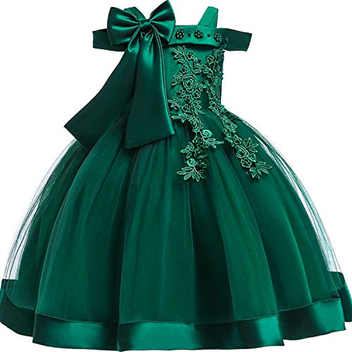 Baby Girls 3D Flower Embroidery Silk Princess Dress