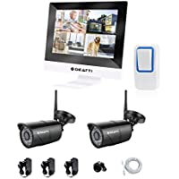 DEATTI All-in-One 960P HD Wireless WiFi Security Camera System 4 CH NVR with 10.1 Monitor and 2 Waterproof Outdoor/Indoor 100ft 36IR Night Vision IP Camera Plug n Play Free Remote View No HDD
