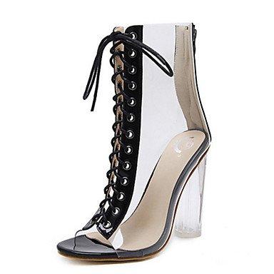 RTRY Zapatos De Mujer De Cuero De Pvc Primavera Otoño Comfort Novedad Botas De Moda Botas Bota Chunky Talón Peep Toe Botines/Botines Lace-Up Para US5.5 / EU36 / UK3.5 / CN35