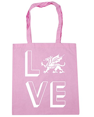 HippoWarehouse Love Wales Tote Shopping Gym Beach Bag 42cm x38cm, 10 litres Classic Pink
