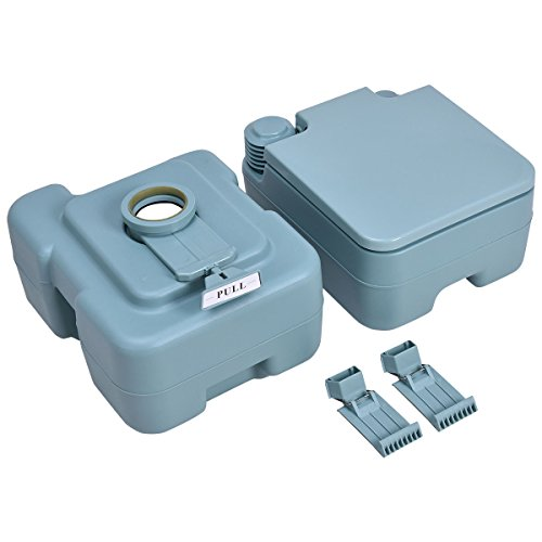 20L Easy Carry & Clean Portable TravelFlush Toilet Greenish Gray Potty by FDInspiration (Image #1)