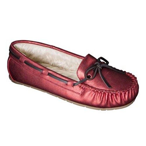 Womens Metallic Red Slippers Faux Fur Chaia Moccasins zjcOYcV4X5